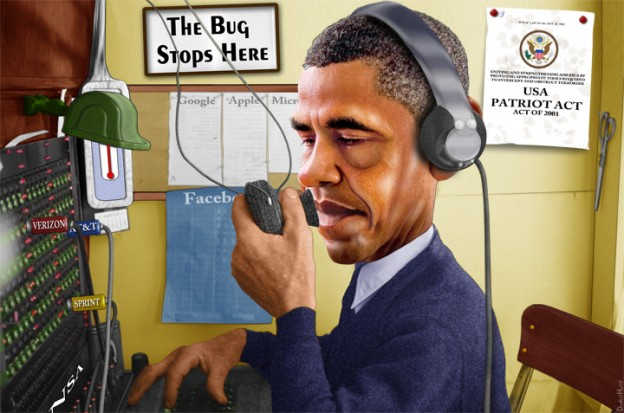 caricature of Obama spying
